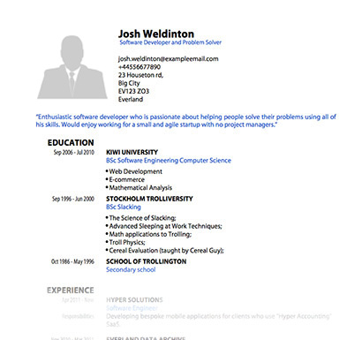 pdf resume template fancy_blues_wide - Curriculum Vitae Format Free Download